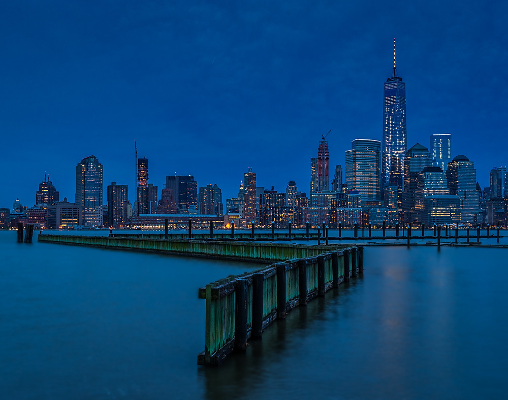 New York City skyline across the river at blue hour