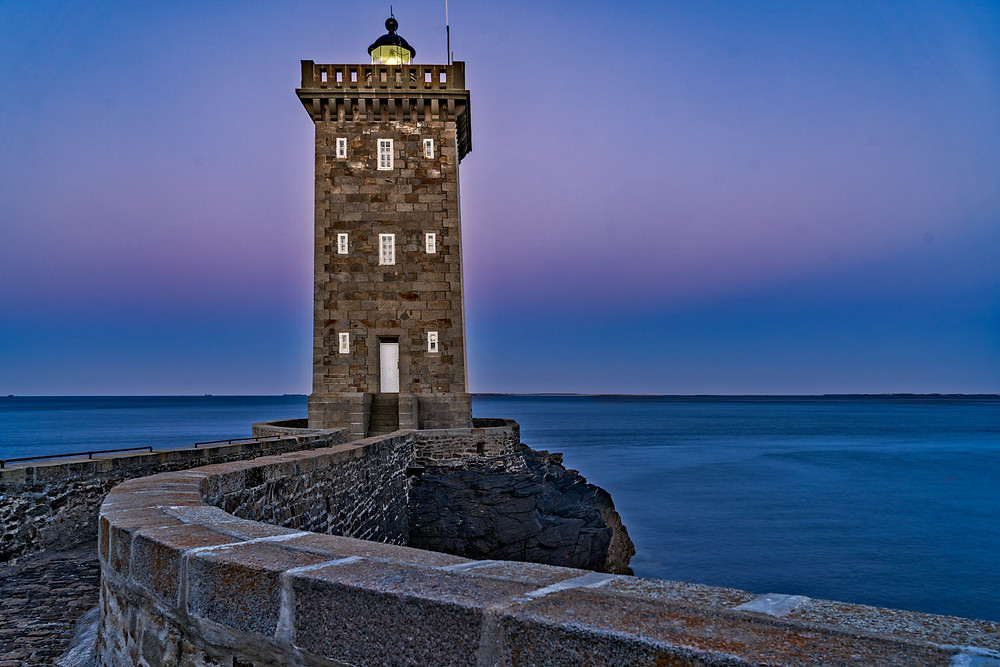Kermorvan lighthouse at sunrise