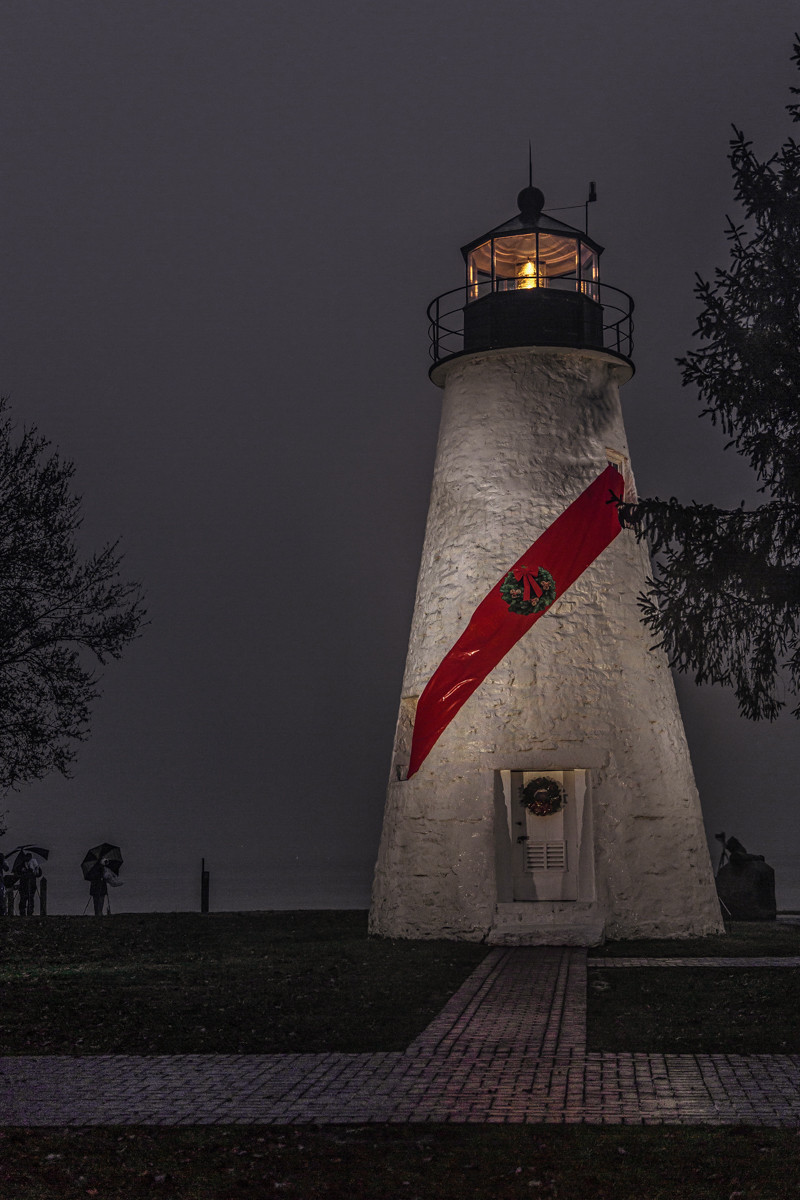 Concord Point lighthouse on a rainy night
