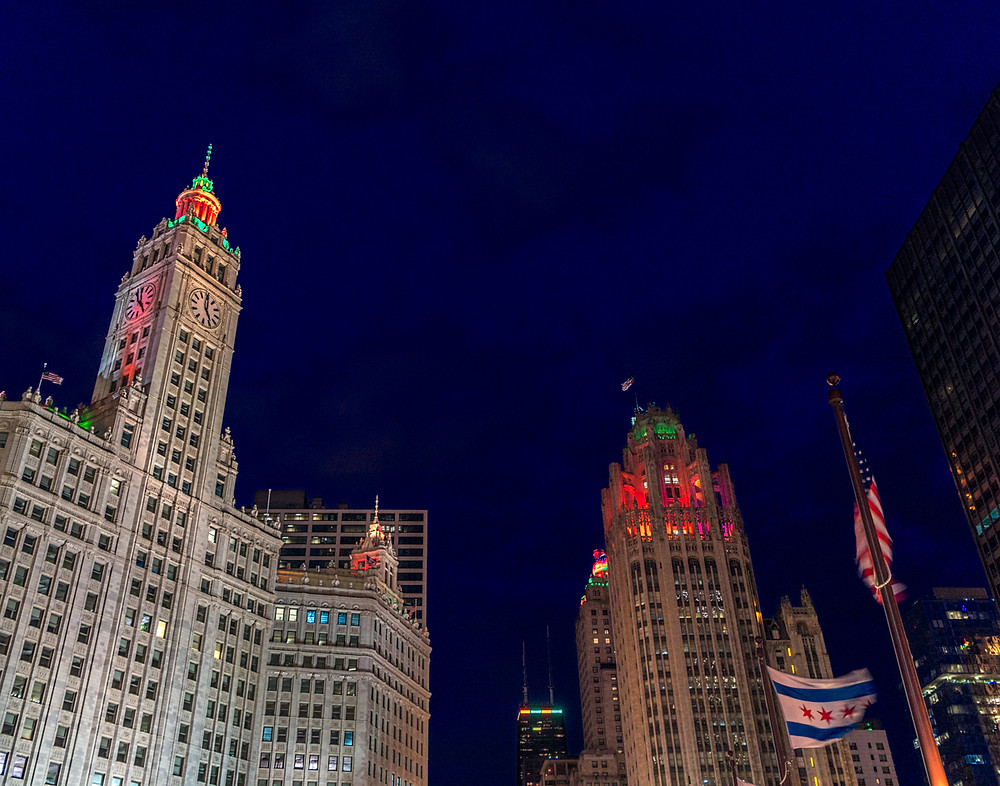 Chicago landmarks during holiday season at blue hour