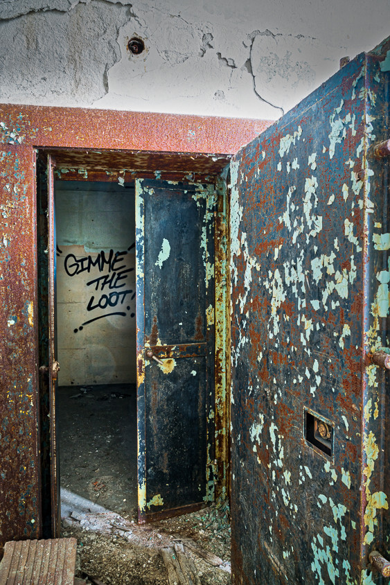Empty decaying safe at abandoned U.S. Post Office