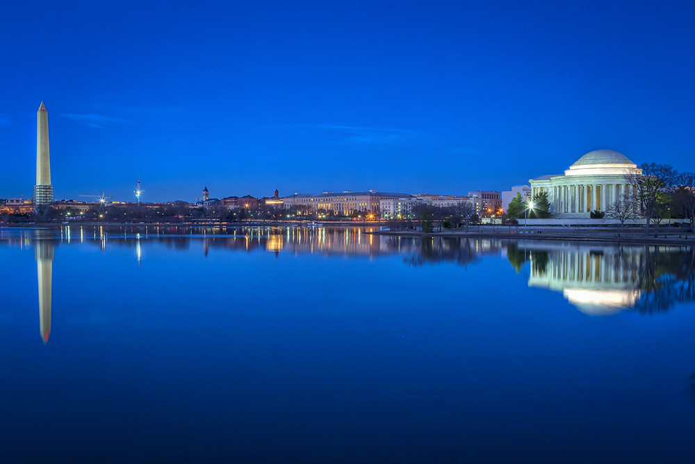 From Washington to Jefferson Washington DC skyline at blue hour