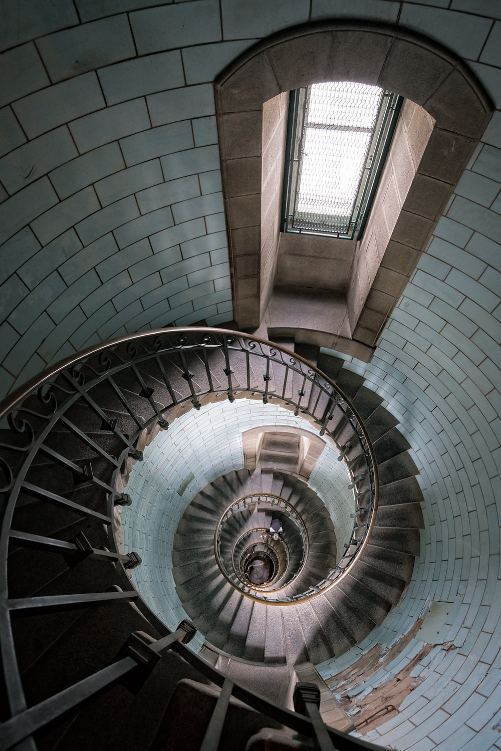 Spiral staircase interior of the Eckmuhl lighthouse