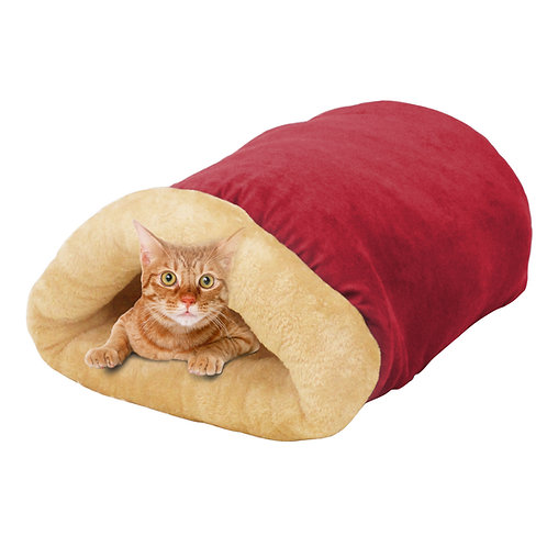 GOOPAWS 4 in 1 Self Warming Burrow Cat Bed, Burgundy