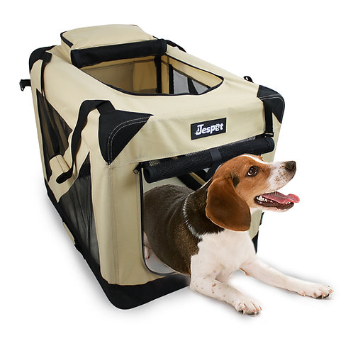 Jespet 3 Door Soft Sided Folding Travel Pet Crate, Beige