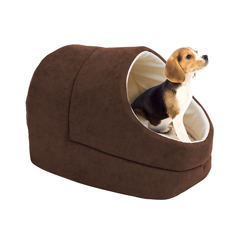 GOOPAWS Cave Covered Cat & Small Dog Bed, Brown
