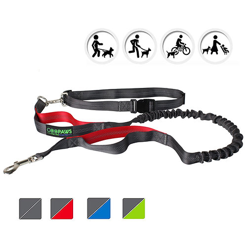 GOOPAWS Red Hands Free Bungee Dog Leash for Hiking, Running and Walking