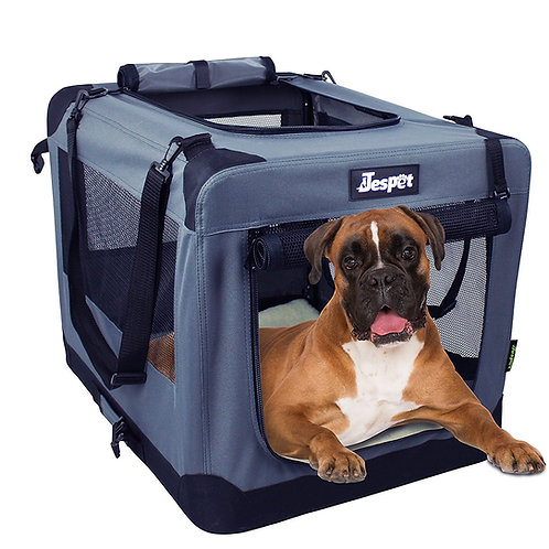 Jespet 3 Door Soft Sided Folding Travel Pet Crate, Gray