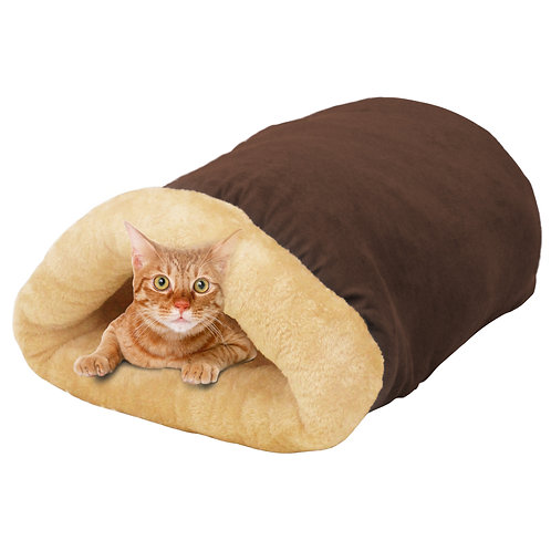 GOOPAWS 4 in 1 Self Warming Burrow Cat Bed, Brown