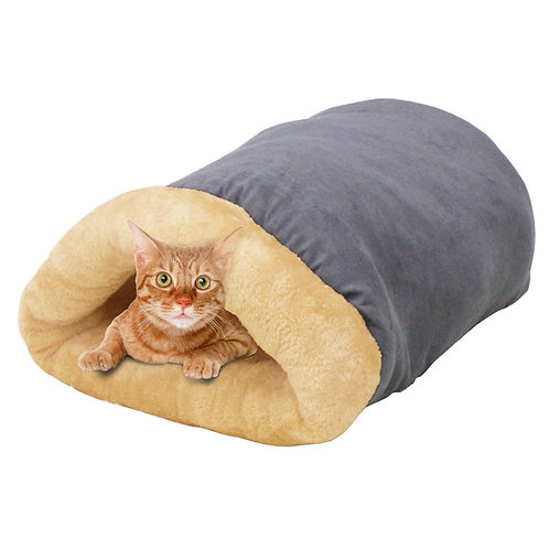 GOOPAWS 4 in 1 Self Warming Burrow Cat Bed, Gray