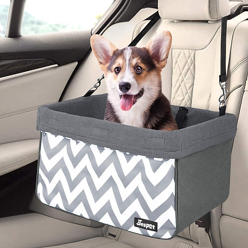 Deluxe Pet Safety Booster Car Seat, Gray with Strip