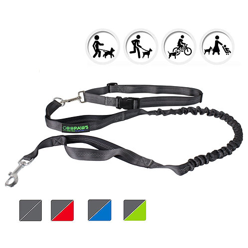 GOOPAWS Black Hands Free Bungee Dog Leash for Hiking, Running and Walking