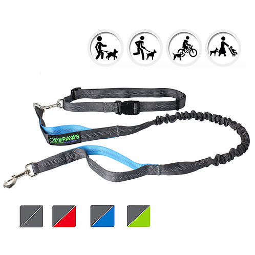 GOOPAWS Blue Hands Free Bungee Dog Leash for Hiking, Running and Walking