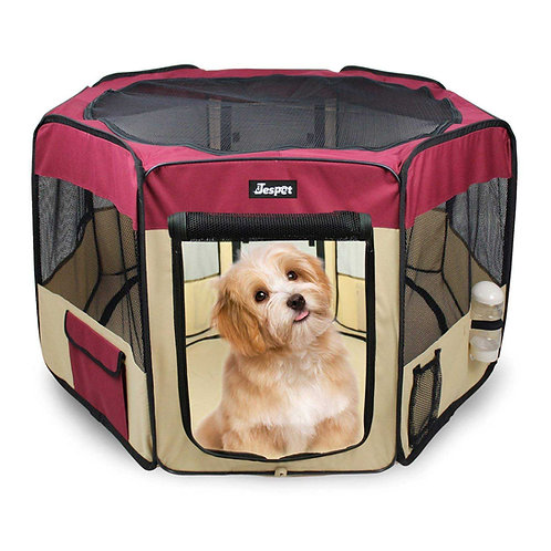 JESPET Maroon Portable Soft Dog Exercise Pen