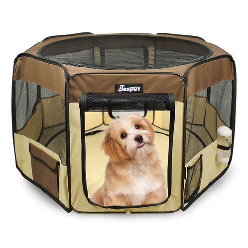 JESPET Brown Portable Soft Dog Exercise Pen