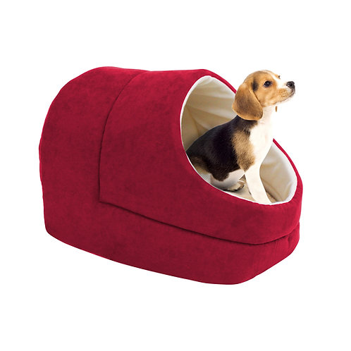 GOOPAWS Cave Covered Cat & Small Dog Bed, Burgundy