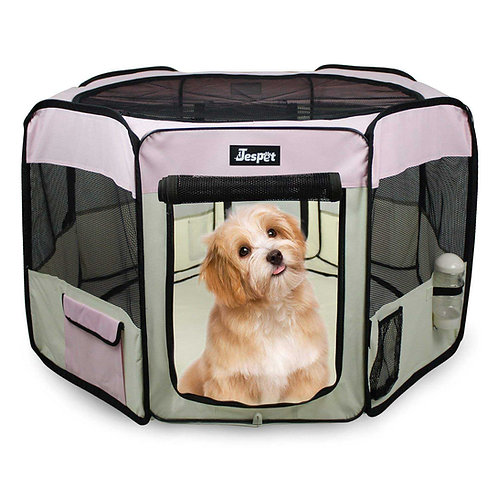 JESPET Pink Portable Soft Dog Exercise Pen
