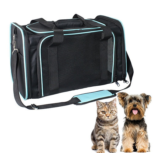 GOOPAWS Soft-Sided Airline-Approved Travel Dog & Cat Carrier Bag, Black/Blue