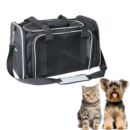 GOOPAWS Soft-Sided Airline-Approved Travel Dog & Cat Carrier Bag, Black/Gray