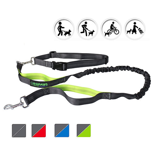 GOOPAWS Green Hands Free Bungee Dog Leash for Hiking, Running and Walking