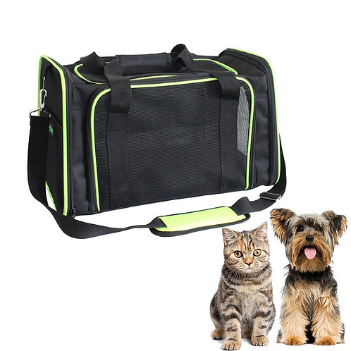 GOOPAWS Soft-Sided Airline-Approved Travel Dog & Cat Carrier Bag, Black/Green