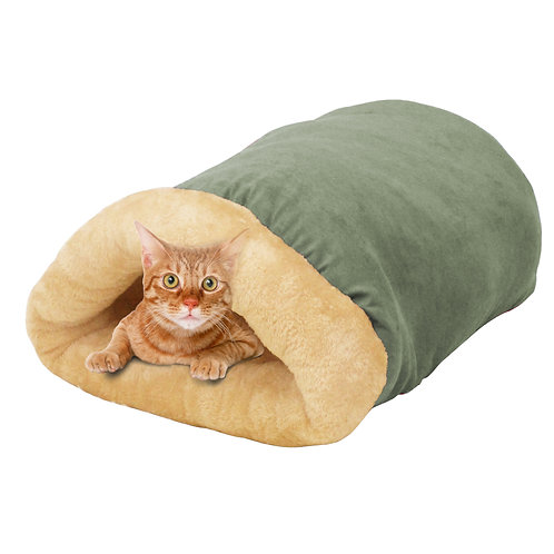 GOOPAWS 4 in 1 Self Warming Burrow Cat Bed, Sage Green