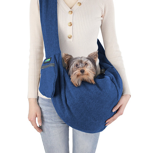 GOOPAWS Navy Blue Comfy Pet Sling for Small Dog Cat, Hand Free Sling Bag