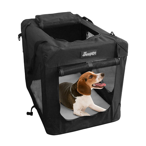 Jespet 3 Door Soft Sided Folding Travel Pet Crate, Black