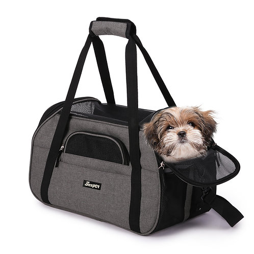 """17""""&19"""" Soft Sided Pet Carrier Comfort for Travel, Smoke Grey"""