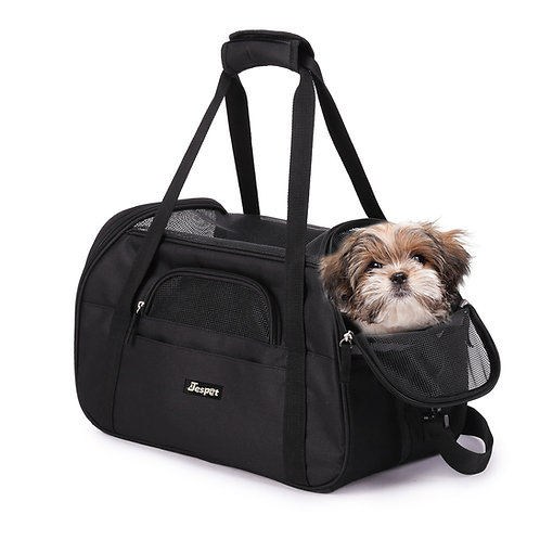 "17"" & 19"" Soft Sided Pet Carrier Comfort for Travel, Black"