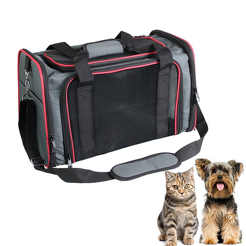 GOOPAWS Soft-Sided Airline-Approved Travel Dog & Cat Carrier Bag,   Gray/Red