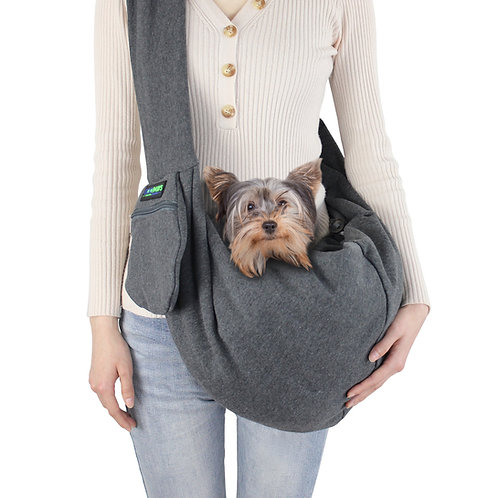 GOOPAWS Smoke Gary Comfy Pet Sling for Small Dog Cat, Hand Free Sling Bag