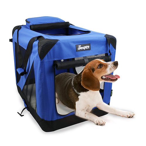 Jespet 3 Door Soft Sided Folding Travel Pet Crate, Blue
