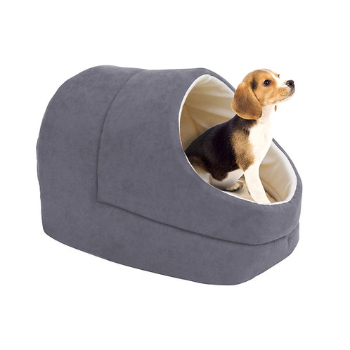 GOOPAWS Cave Covered Cat & Small Dog Bed, Gray