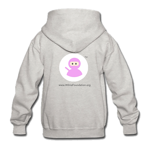 Childrens Hoodie: Wilms Warriors™/ White/ Pink (Light Grey)