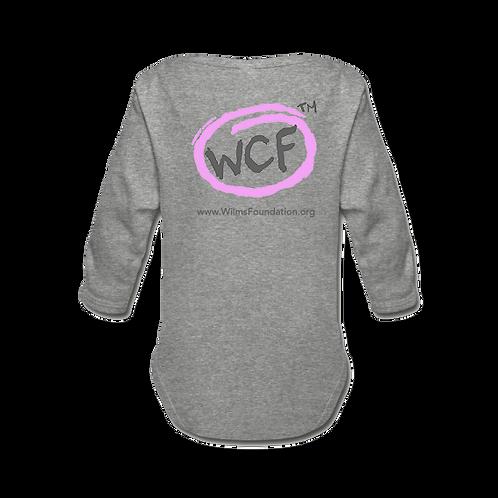 Baby Long Sleeve Bodysuit: Classic WCF Icon/ Pink (Light Grey)