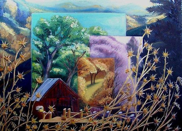 """Sierra Red Barn & Thistles"" Painting"