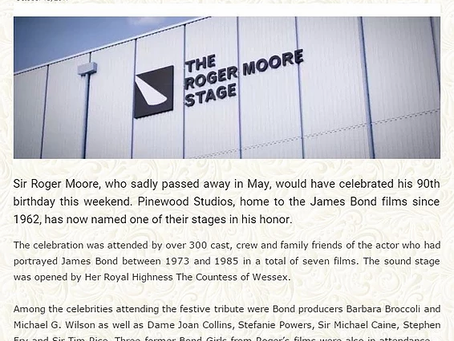 October 16th 2017 - The 'Roger Moore Stage' unveiled at Pinewood Studios and produced by PFI