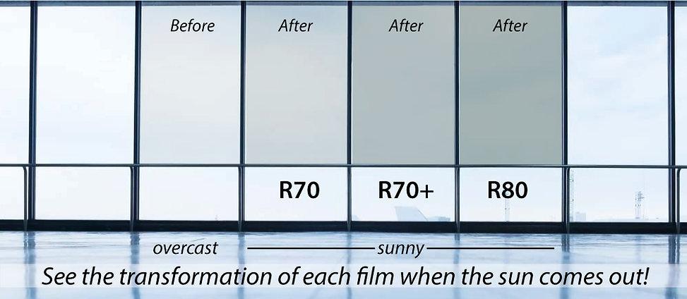 Transition film window tint