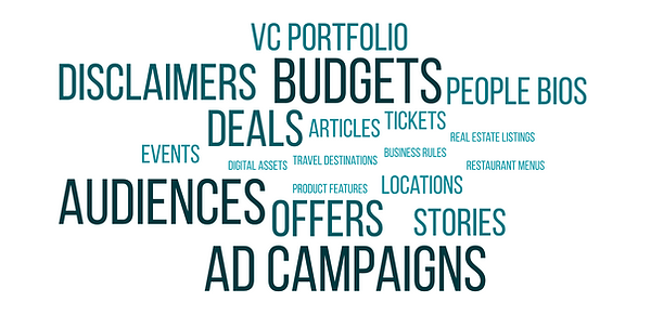 Small Data Examples: VC Portfolio, Disclaimers, Budges, People Bios, Deals, Articles, And other content types