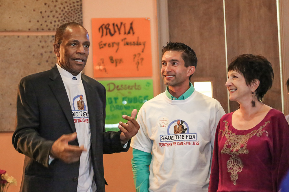 Chris Ehrenfeld (C) and Jill Ehrenfeld (R) with Superior Court Judge Carl Fox (L) at a 2015 Delete Blood Cancer fundraiser. Photo by Beth Sweeting.