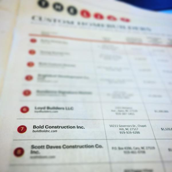 BOLD Construction Ranked 7th by Triangle Business Journal