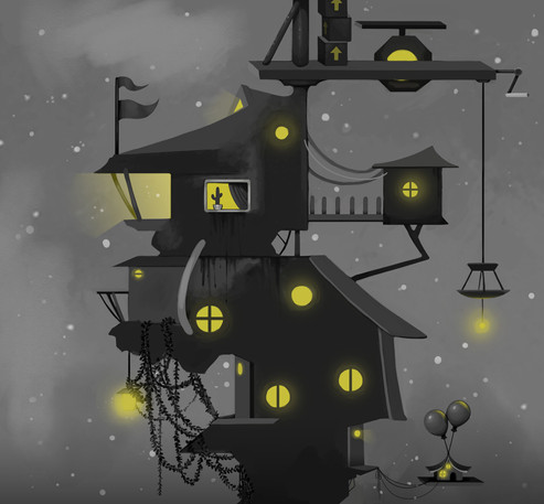 A strange house painting, based on a concept made by Lily Wang.