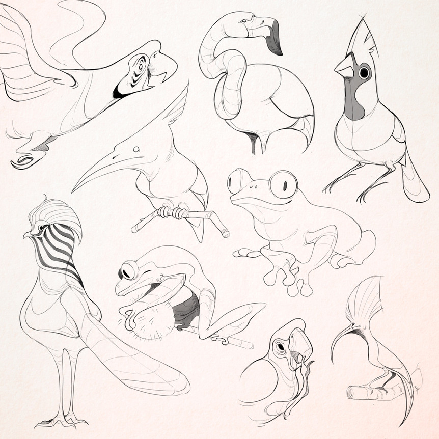 Animal sketches with focus on motion and figure.