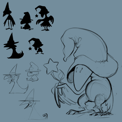 Sketches of a magical crow character, here I used silhouettes to explore different shapes and ideas.