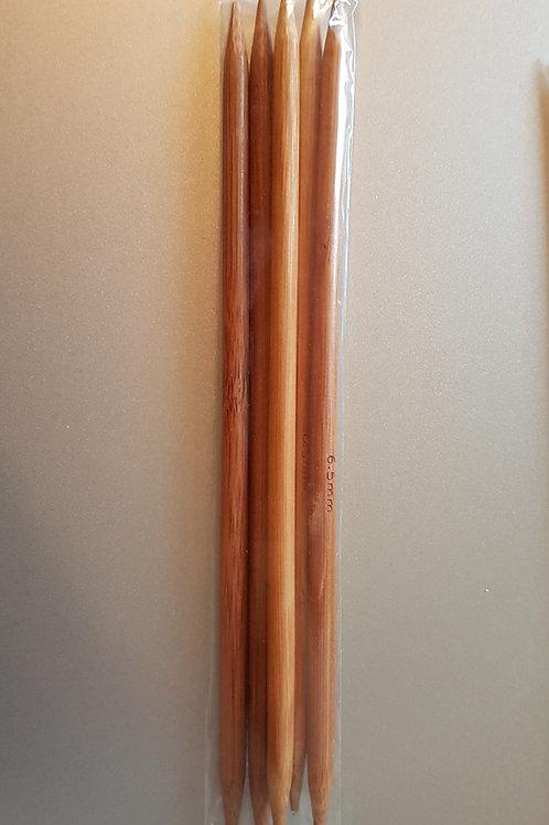 6,5 mm strømpepinde (bambus) sæt m. 5