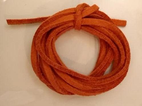 Lædersnøre - orangerød