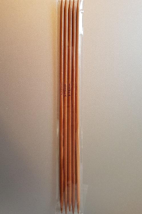 3,75 mm strømpepinde (bambus) sæt m. 5