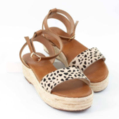 Platform Wedge Sandal in Caramel & Fauna