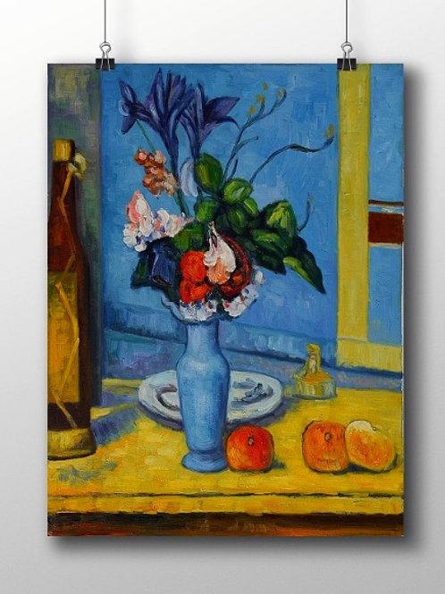 paul cezanne, vaso, azul, blue, vase, quadro, poster, gravura, reprodução, canvas, replica, tela